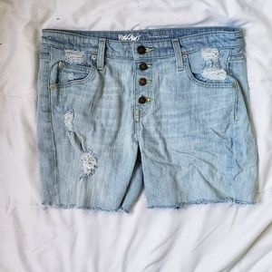 Mossimo Button Fly Distressed Boyfriend Shorts 8